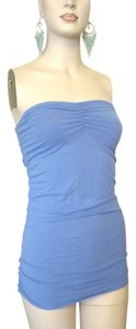 Victoria's Secret Bra Strapless Ruched Top Blue