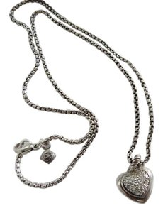 David Yurman SS Cable Heart Pendant with Diamonds on 17