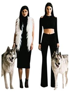 Kendall + Kylie & Bell Suede Like Stretch Super Flare Pants Black