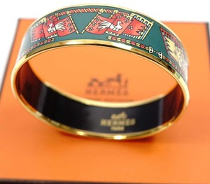 Hermès MIB Mint Hermes in Box Gold Green Enamel Bangle Wide Bracelet sz pm