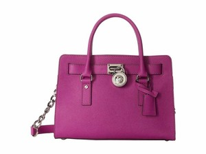 Michael Kors Mk Lock And Key Pink Mk Hamilton Saffiano Leather Satchel in Fuschia Pink/Silver Tone Hardware