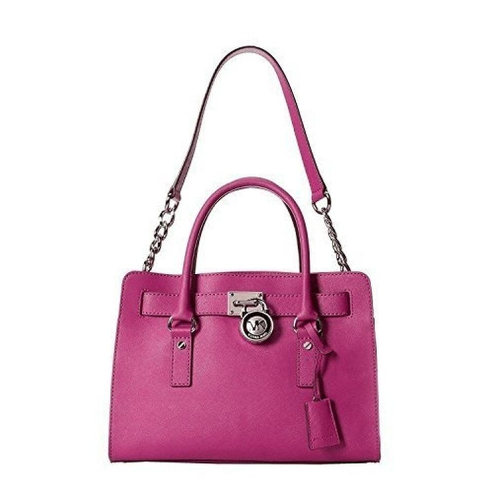 Pink Purse Mk Hamilton Saffiano Leather Satchel In Fuchsia 1234