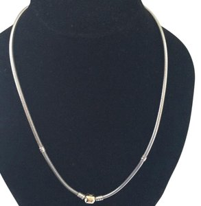 PANDORA PANDORA STERLING SILVER NECKLACE AND 14K YELLOW GOLD CLASP