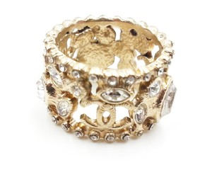 Chanel Authentic Chanel Gold CC Marquise Crystal Wide Ring