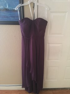 David's Bridal Plum Strapless High Low Dress