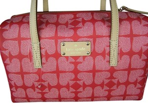 Kate Spade Leather Spade Ace Pebble Satchel in Red