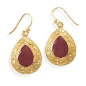 MMA Silver Star Pear Ruby Drop Earrings