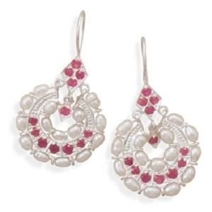 MMA Silver Stars Pearl and Ruby Earrings