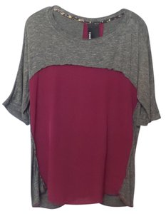 Dolan Anthropologie Knit Crepe Small Batwing Top Grey and Maroon