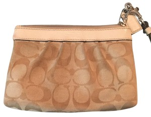 Coach Wristlet in Tan/off White