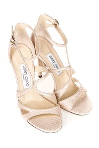 Jimmy Choo Strappy Snakeskin Nude Sandals