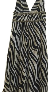 Trina Turk Zebra Animal Print Black And White Grecian Dress