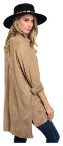 Overisized Boyfriend Suede Button Down Shirt Khaki