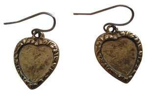 Other New HANDMADE Golden Heart EARRINGS Antiqued Finish NWOT