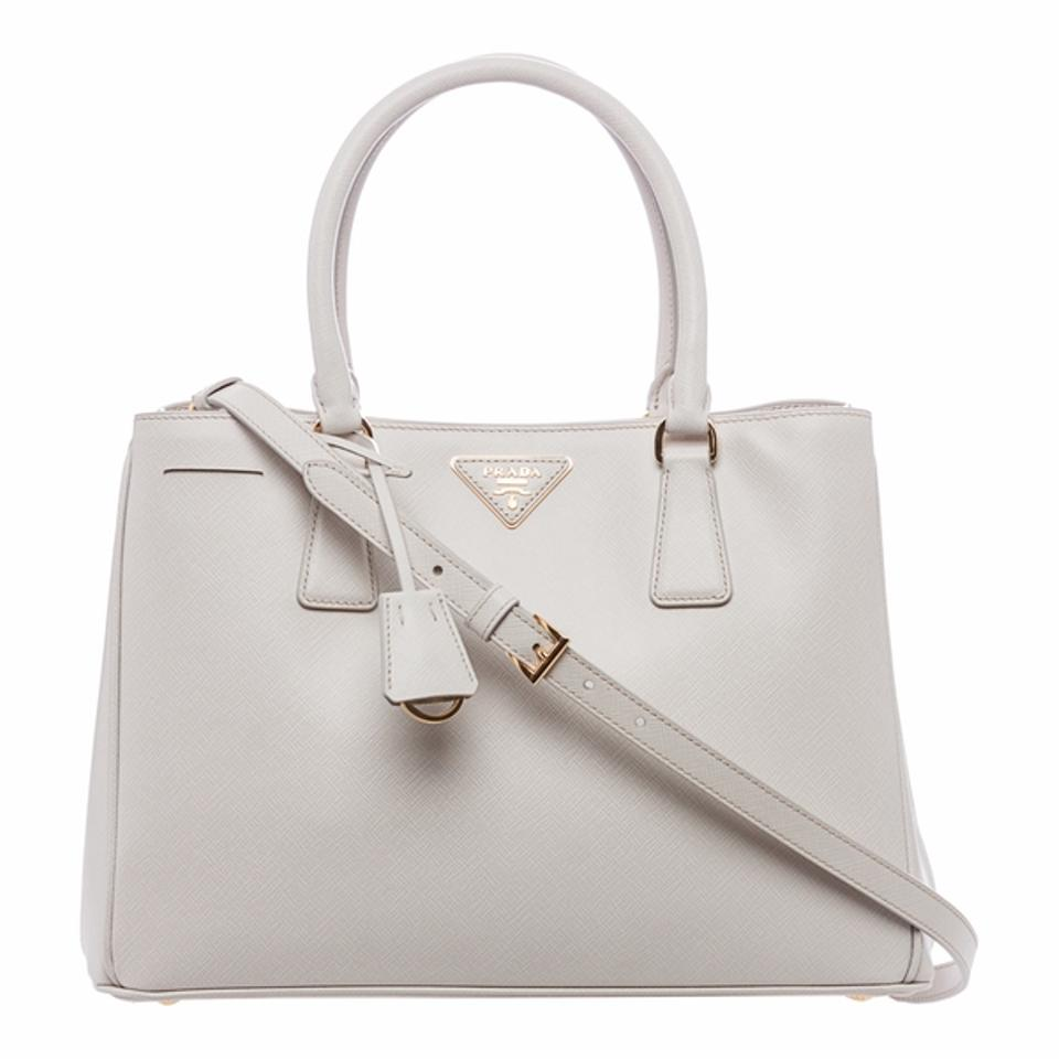 Prada Double Lux  reduced  Saffiano Small Double-zip Tote Blush Cammeo  White Leather Satchel 9132579a50215