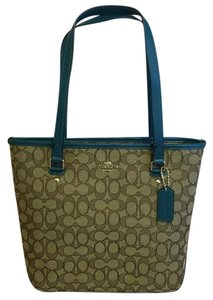 Coach Tote in Khaki Blue Green