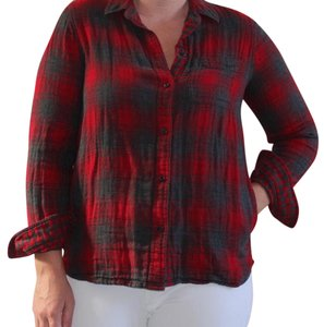 Madewell Button Down Shirt Red and gray
