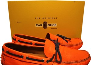 Original Car Shoe Neon Orange w Blue Strings Flats