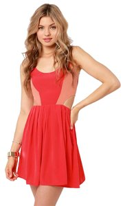 BB Dakota short dress Red and peach Bb Cutout on Tradesy