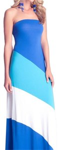 Blue, Cyan, White Maxi Dress by bebe