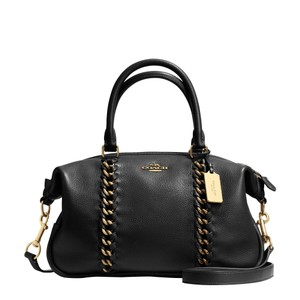 Coach Adjustable Detachable Cross-body Satchel in Black Gold tone