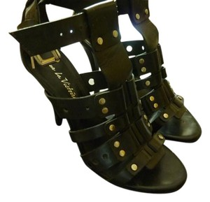 Pour La Victoire Studded Leather Black Sandals