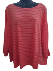 Chico's Striped Cowl Neck Knit Top Coral