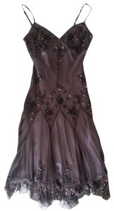 Adrianna Papell Black Tie Wedding Vintage Silk Beaded Flowy Dress
