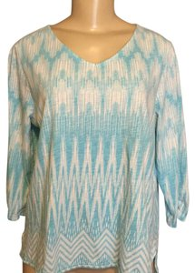 Chico's T Shirt Tiffany Blue and White Print