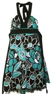 Speechless short dress Teal & Brown Floral Halter Cotton on Tradesy
