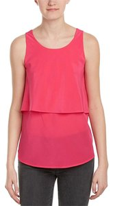 Trina Turk Sleeveless Layered Silk Top Fuchsia