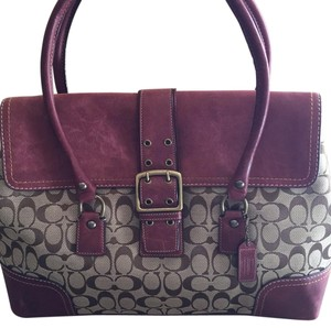 Coach Burgundy/Brown Monogram Travel Bag