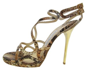 Jimmy Choo Gold Snake Sandals