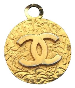 Chanel CHANEL 18k GOLD PLATED DOUBLE SIDED CC CHARM / PENDANT