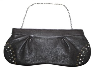 A.B.S. by Allen Schwartz Leather Studs Brown with Bronze and Silver Studs, Bronze Chain Clutch