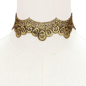 Modern Edge Reversible embroidered lace choker