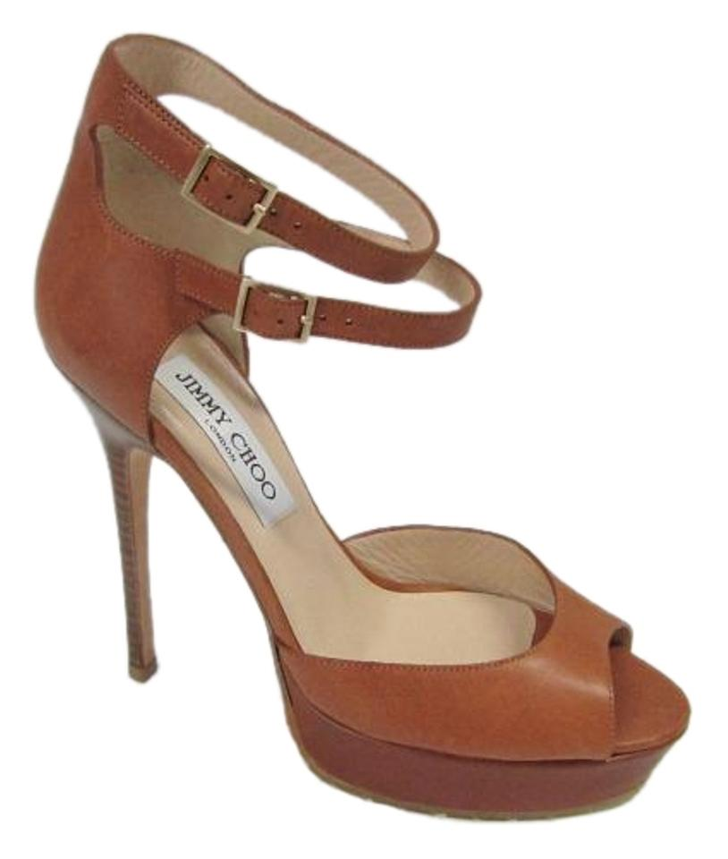 Jimmy Choo Camel Strappy New Leather Platform Open Strappy Camel 36 Sandals 26d291