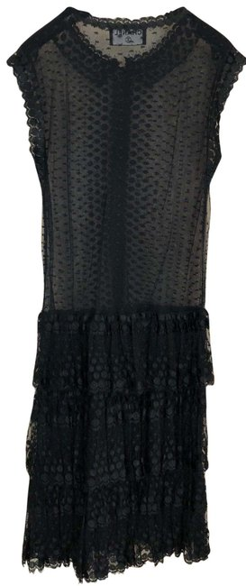 Item - Black Evening Classic Lace Day To Above Knee Short Casual Dress Size 4 (S)