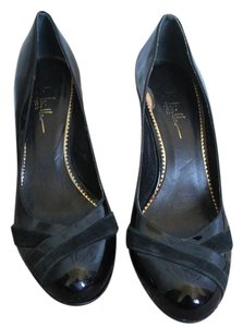 Nicole Miller Patent Leather Suede Black Pumps