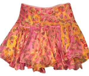 Diane von Furstenberg Mini Skirt Yellow and pink