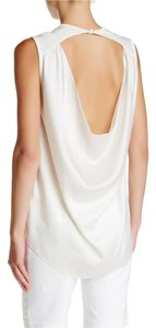 Alice + Olivia Silk Sleeveless Open Back Top cream