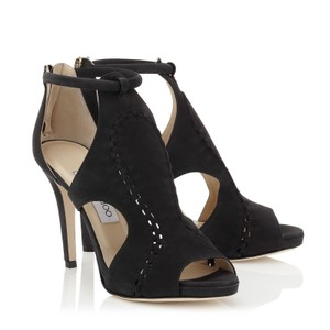 Jimmy Choo High Heels Suede Sandals Open Toe Black Pumps