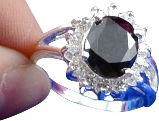 Penny's Fine Jewelry Sterling Silver Black Radiant Cut Stone with Clear Cz's Cocktail Ring 3.1g Sz 7