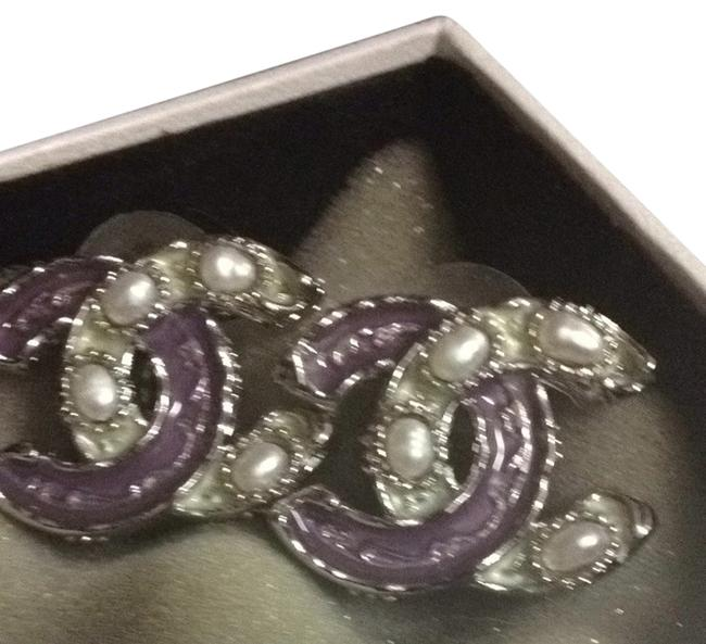 Item - Purple and White (Just Lowered The Price) Stamped Cc Pearlized with Faux Pearl Earrings