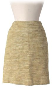 Badgley Mischka Sparkle Linen Skirt Gold