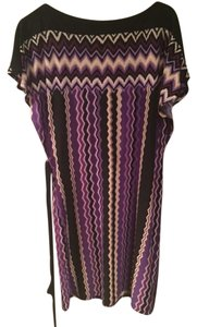 Sandra Darren short dress Multi - Purple, Black, Biege on Tradesy