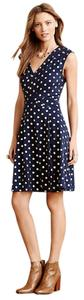 Anthropologie short dress Navy with gold polka-dots Winter Fall on Tradesy