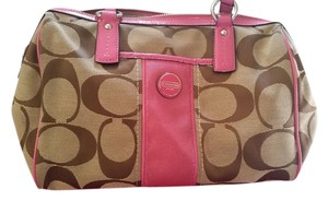 Coach Signature Satchel in Khaki / Rasberry