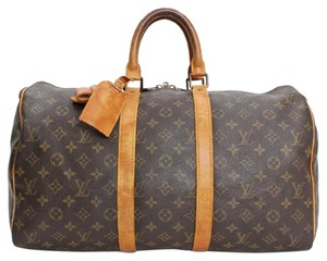 Louis Vuitton Keepall 45 Lv Leather Travel Bag
