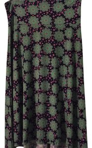 LuLaRoe Skirt Black with pink and green pattern